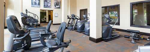 Interior view of fitness center at AMLI Campion Trail apartments with treadmills and cardio machines and artwork