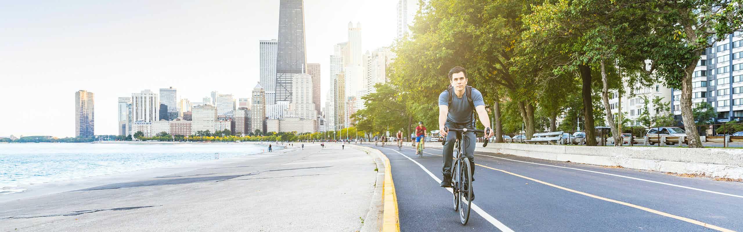 biker on lakefront