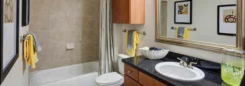 Interior view of AMLI Las Colinas apartment bathroom with black granite vanity, wood cabinetry and bathtub/shower