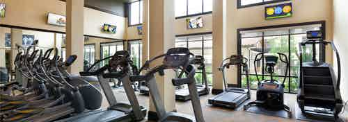 AMLI Campion Trail fitness center with treadmills and cardio machines and mounted TVs and large two-story windows