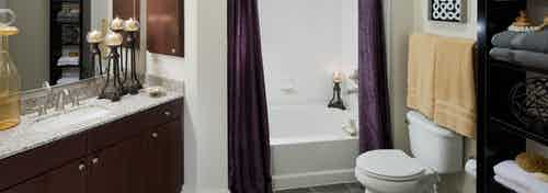 AMLI at Escena bathroom with granite countertop and espresso cabinets and oval garden tub with purple shower curtains