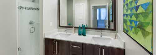 Interior view of AMLI Piedmont Heights apartment bathroom with double dark wood vanity sink with a mirror and stand up shower