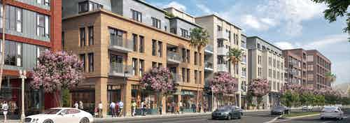 AMLI Old Pasadena apartment building rendering featuring people walking on sidewalk and flowering trees with cars driving by