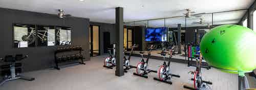 AMLI Grapevine fitness room with floor to ceiling windows and standalone spin bikes and multi-colored exercise balls