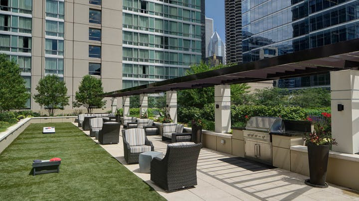 Rooftop grill area and garden