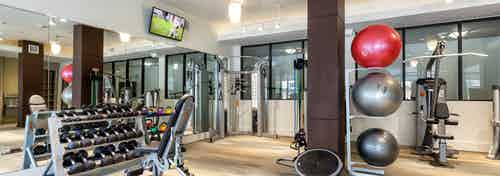 AMLI West Plano fitness center showing dumbbell rack with large TV hanging on the wall with weight machines in the background