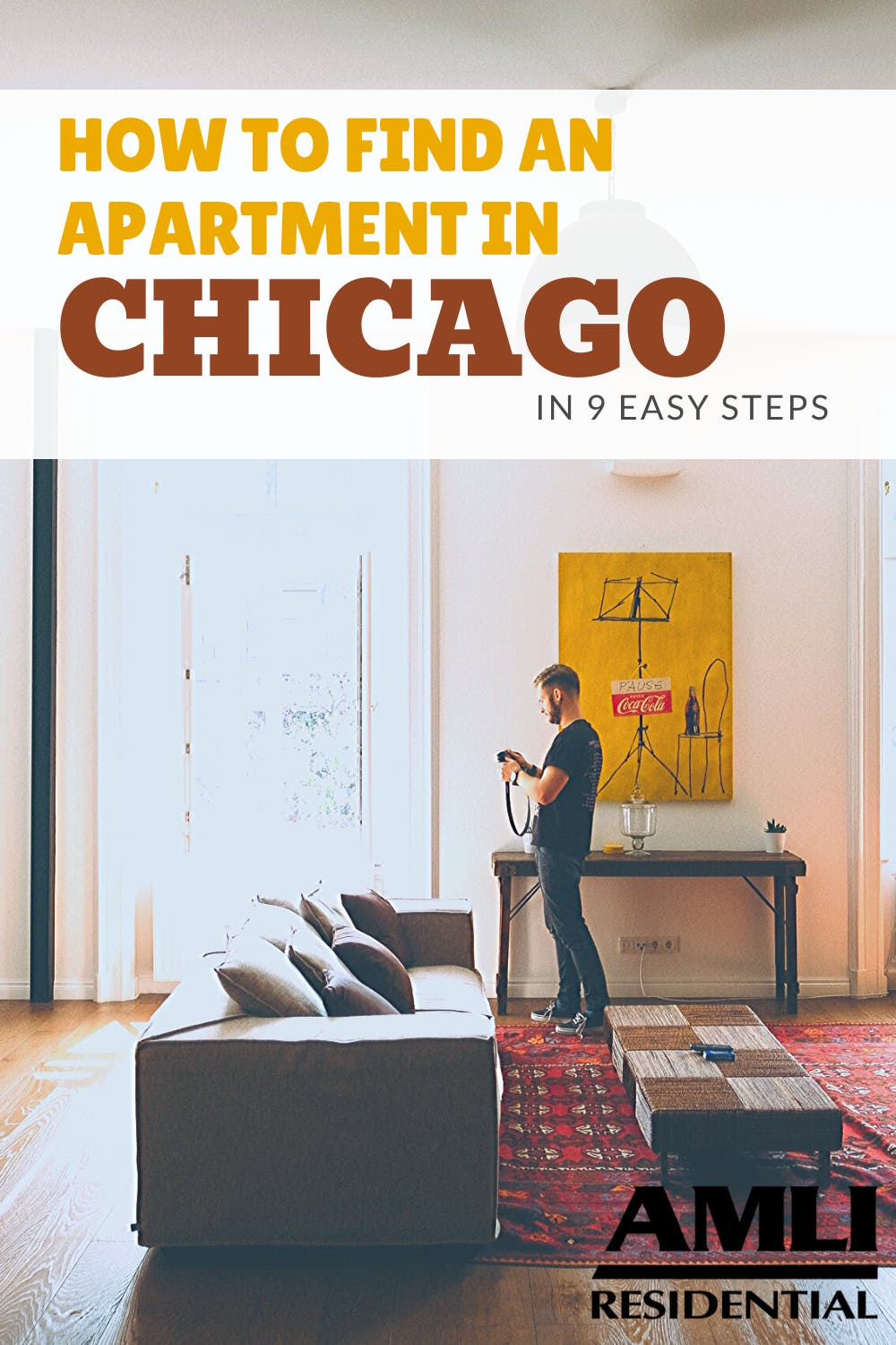 how to find an apartment in chicago pinterest graphic