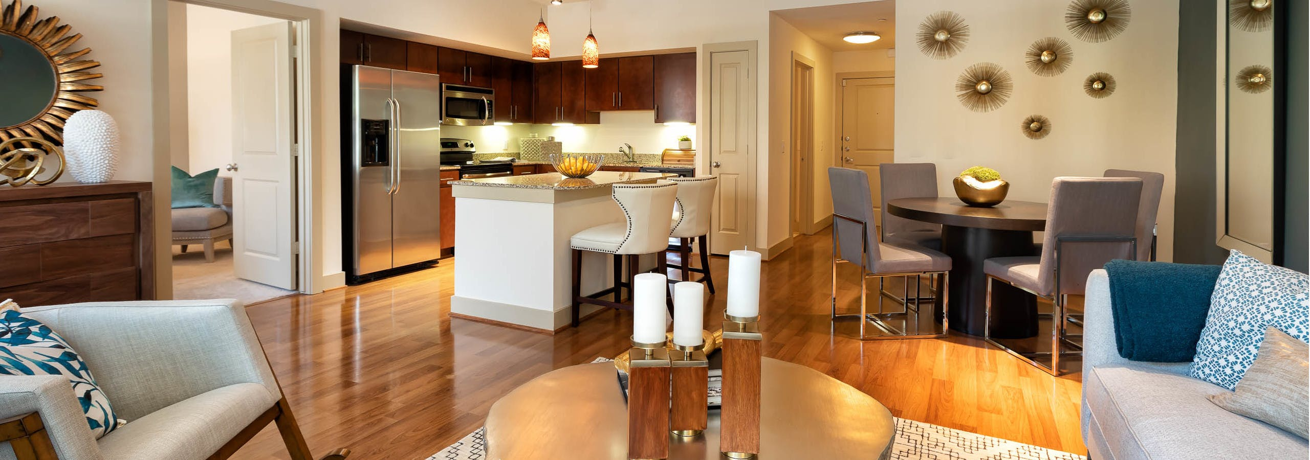 Living, dining room & kitchen