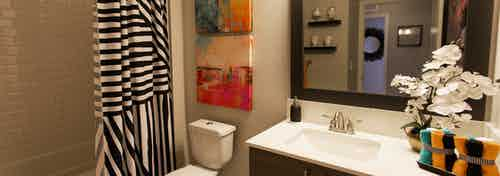 Interior view of bathroom at AMLI Dadeland apartments with single sink vanity, mirror and black and white shower curtain