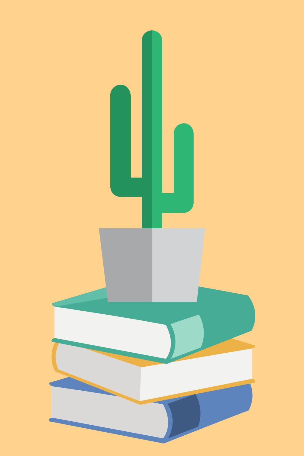 three books stacked on top of each other with a cactus on top