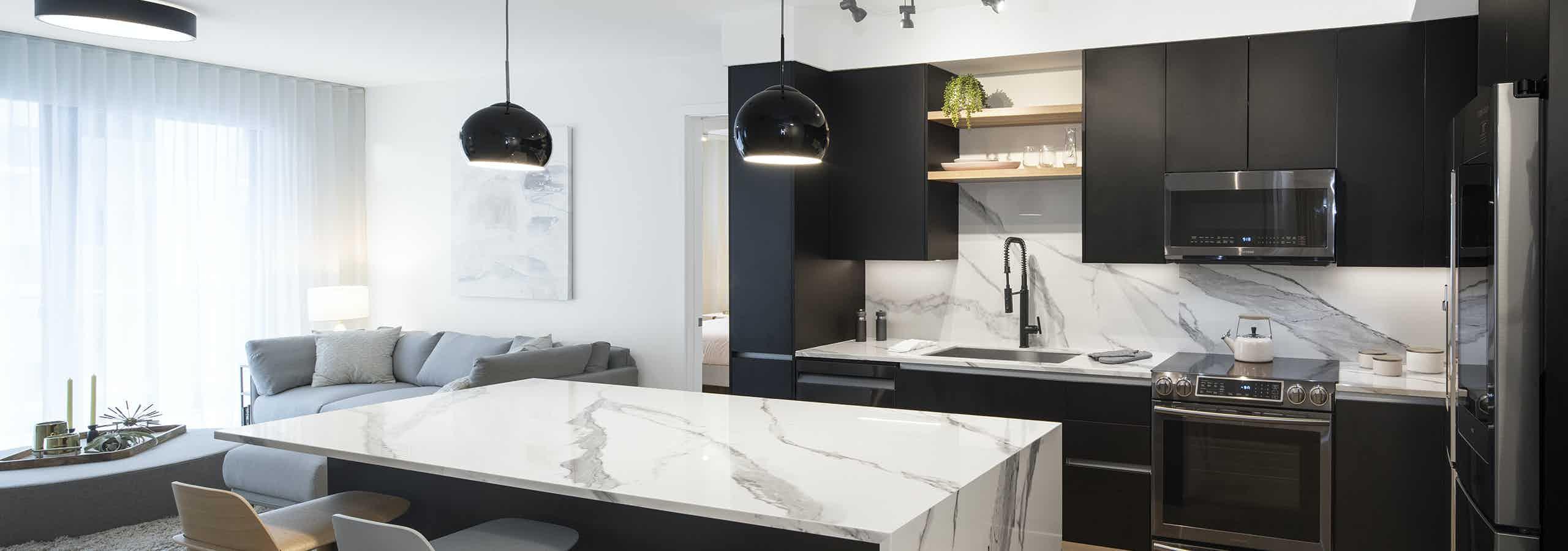 Island kitchen with Travertine interior package