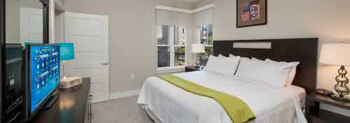 Interior of AMLI Piedmont Heights bedroom with grey walls and carpet with white bedding and windows to let in natural light