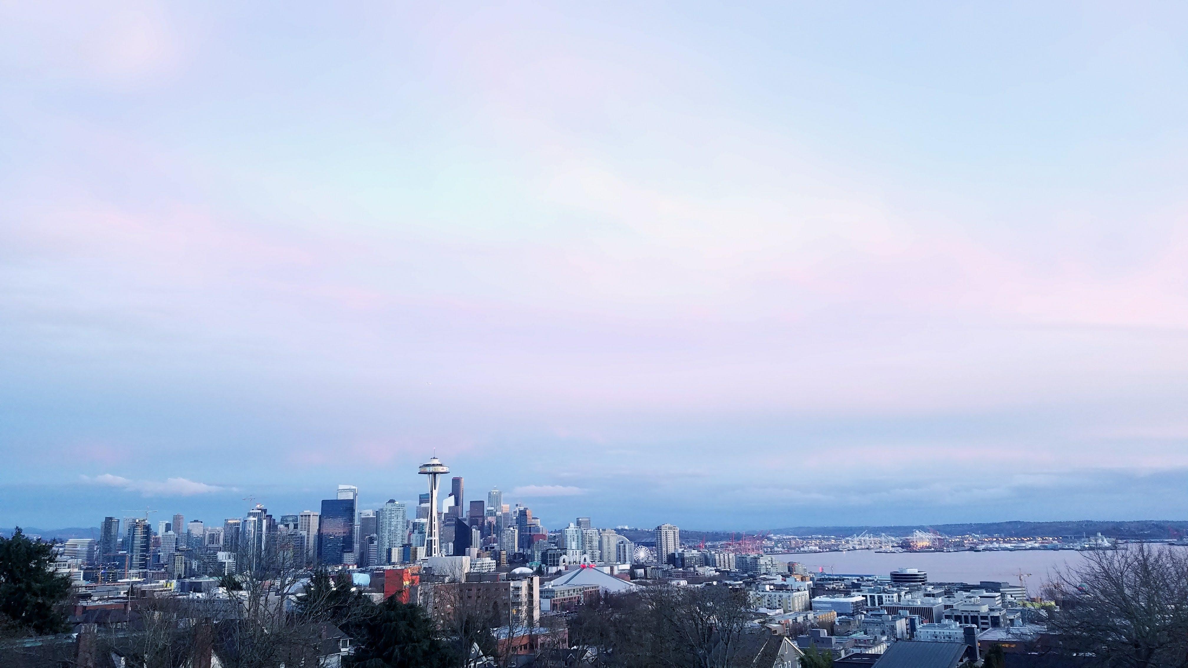 Seattle skyline with a purple haze