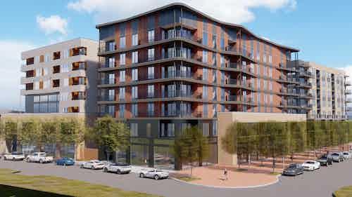 Northwest view of north building rendering