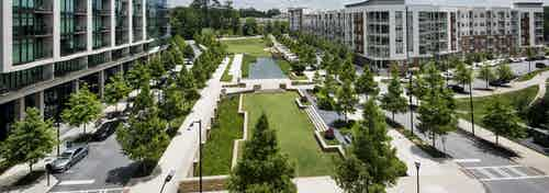 Overhead view of Marie Sims Park and tree lined streets with AMLI 3464 on the left and AMLI Buckhead on the right