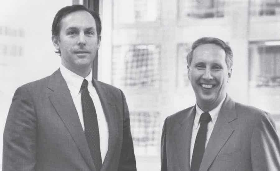 A photo from 1980 AMLI founders Greg Mutz and John Allen in black and white