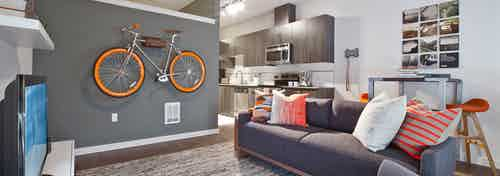 Living room with gray walls and couch and a bicycle with orange rims mounted on the wall in an apartment at AMLI South Lake Union.