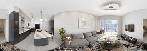 Panoramic interior rendering of AMLI Midtown Miami island kitchen with Italian cabinetry and furnished living room