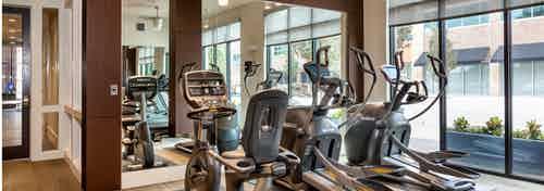 AMLI West Plano fitness center with tall windows showing different cardio exercise machines in front of a large wall mirror