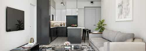 Rendering of AMLI Midtown Miami modern living room and island kitchen with black and white cabinets and black appliances