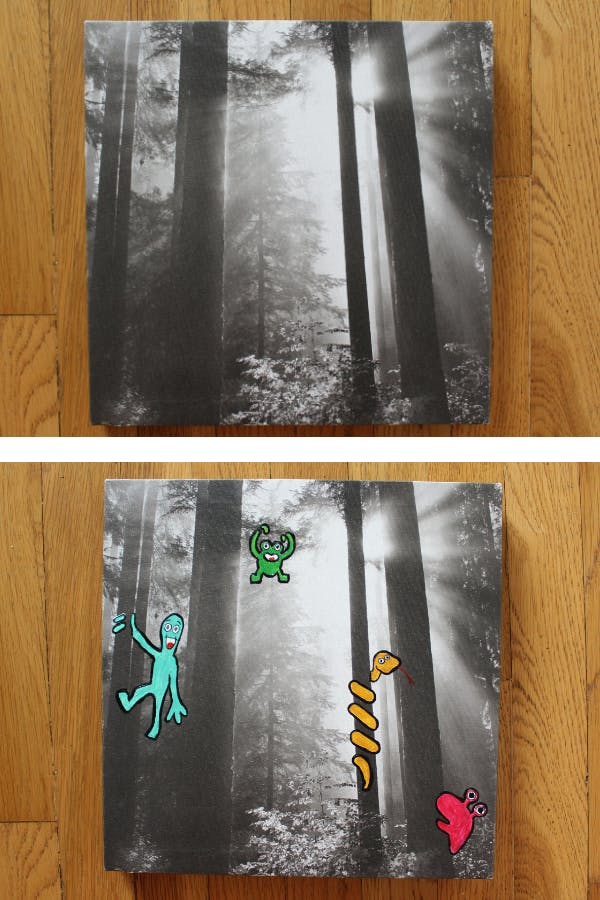 A side by side photo of a printed photo of a forest with little monsters painted onto the canvas