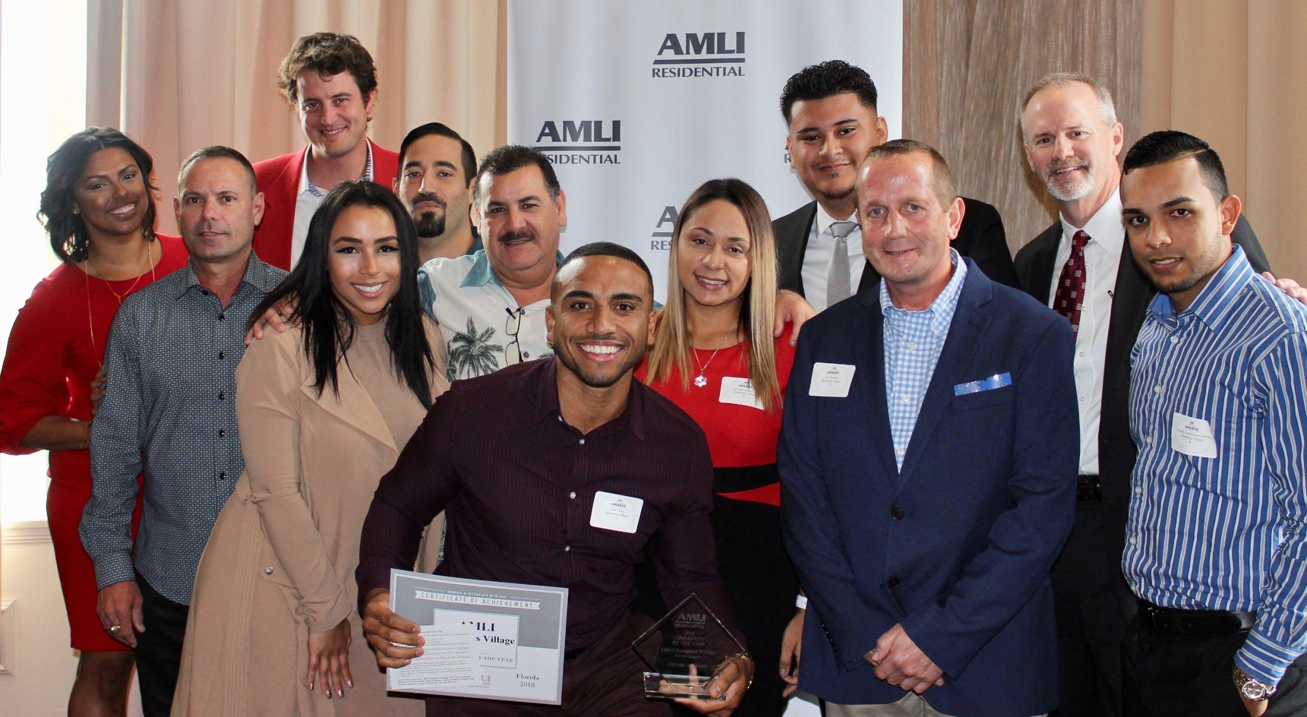 AMLI at the Ballpark team receiving annual award