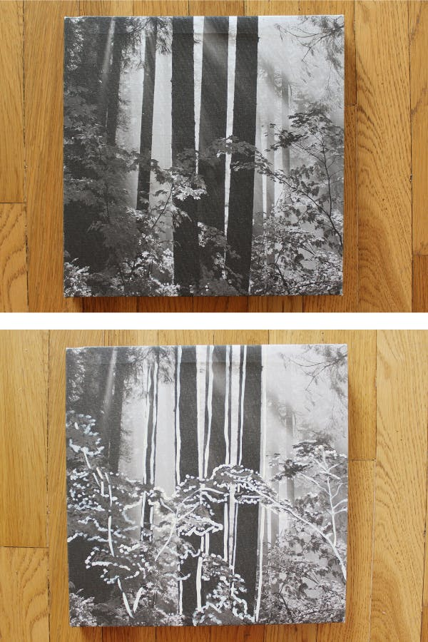 A side by side picture of a black and white printed photo with painted outlines of the forest on the second photo