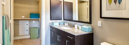 Bathroom at AMLI at Mueller featuring a black vanity sink with a light countertop and framed mirror on beige walls