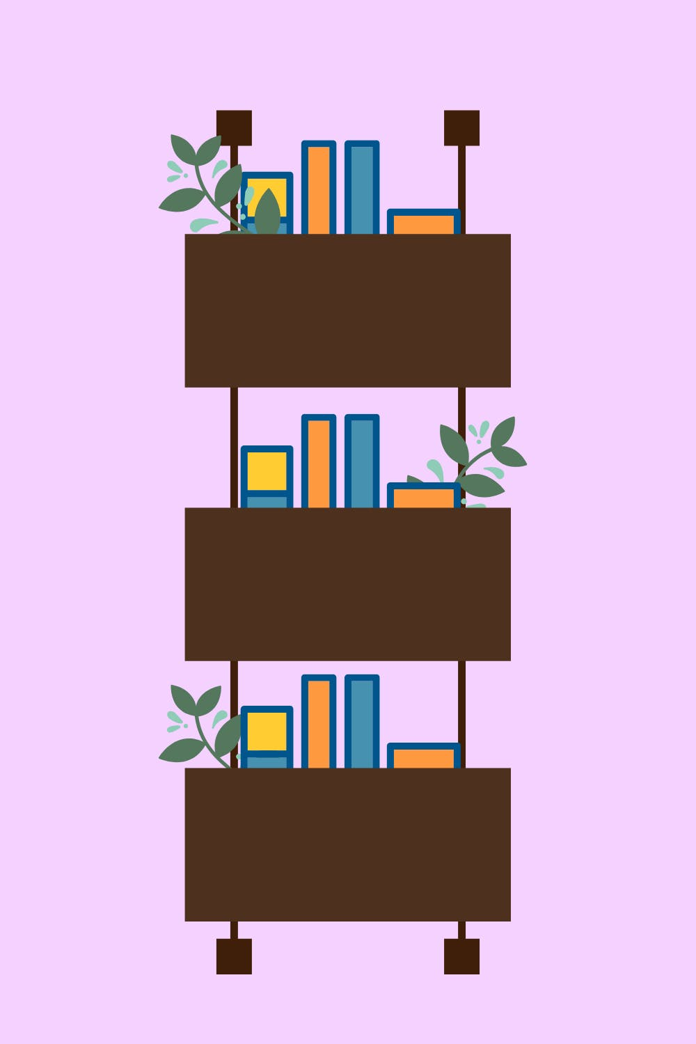 a hanging bookshelf with three shelves of books graphic
