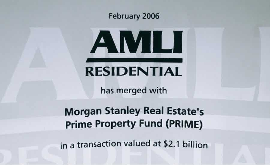 AMLI Prime Property Fund glass tombstone announcement