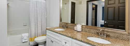 AMLI 300 apartment spa-inspired bathroom with double vanity, an over-sized soaking tub, and elegant granite counter-tops
