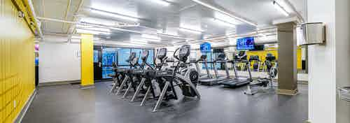 AMLI Bellevue Park fitness center with 2 rows of ellipticals and treadmills and a black padded floor and white ceiling