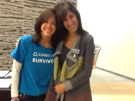 Lung cancer advocates and friends, Jill and Sue, showing solidarity during Lung Cancer Awareness Month