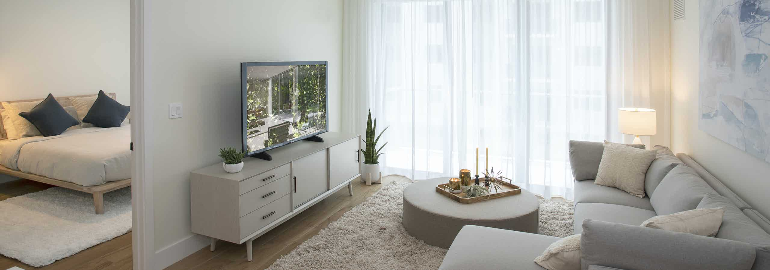 Living room with Travertine interior package