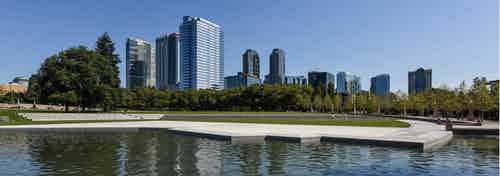 Downtown Bellevue Park right across the street from AMLI Bellevue Park gorgeous pond and walking path seating area and huge green grassy area