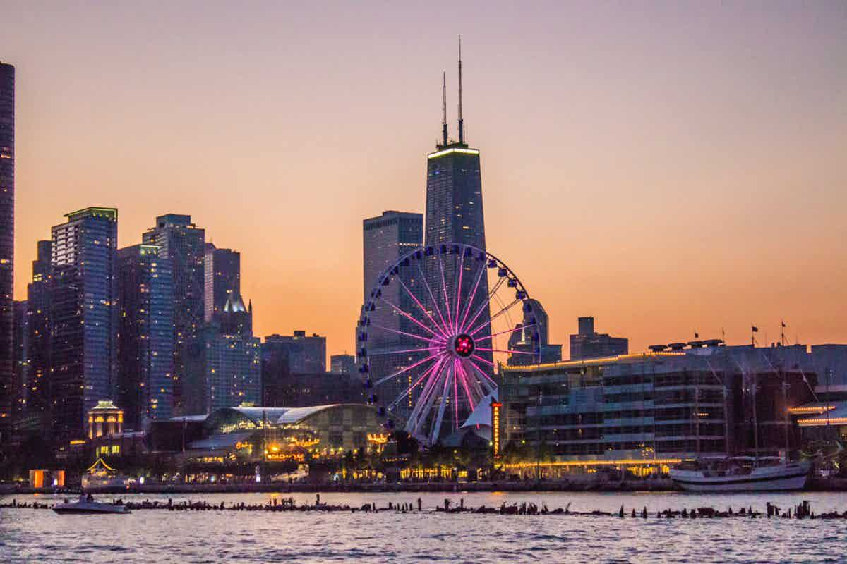 Navy Pier at dusk from water
