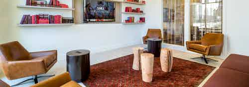 AMLI on Riverside resident lounge with brown leather chairs and a red rug with TV on the wall with a shelf on each side of it
