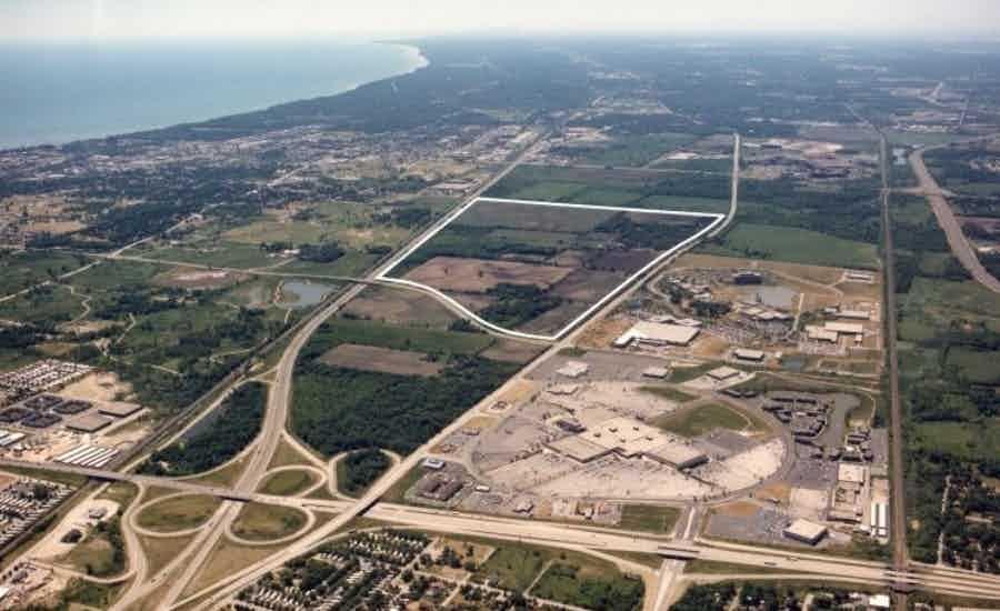 Aerial of Amhurst Lake Business Park land in Waukegan Illinois