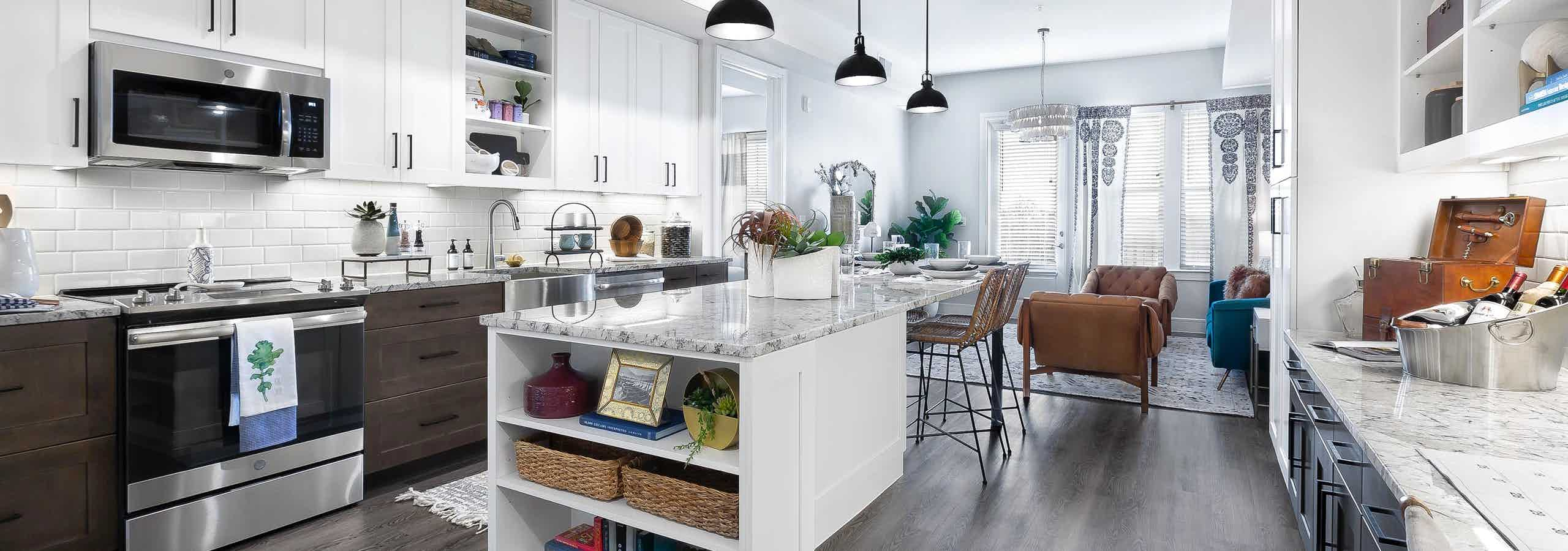 Island kitchen with stainless steel appliances