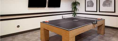 Interior view of the game room at AMLI Cherry Creek apartments with a ping pong table and a television and plants and artwork