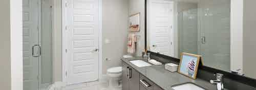 AMLI Lenox apartment bathroom with glass shower and double vanity and dark cabinets and quartz countertop with big mirror