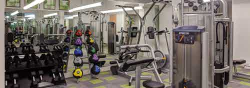 Fitness center at AMLI Evanston with exercise machines and weights stacked along the wall in front of a large mirror