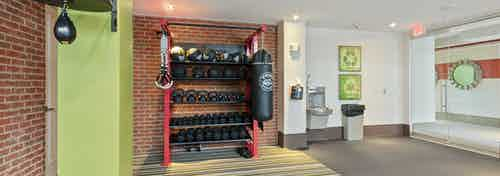 AMLI Ponce Park fitness center with red brick walls on striped carpet and dumbbells and medicine balls and punching bags