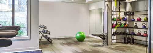 AMLI Covered Bridge free standing weight area with colorful weights, an exercise ball, and medicine balls
