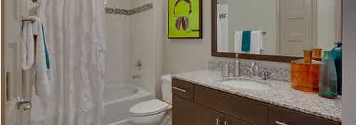 Interior view of AMLI Ponce Park bathroom with a single dark wood vanity with a toilet and white tiled shower tub