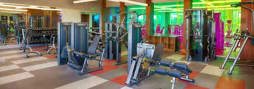Fitness center at AMLI Denargo Market apartments with multiple strength training machines and free weights and large mirrors