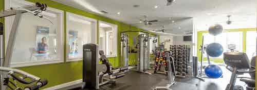 Interior of AMLI Lindbergh gym amenity with green walls and fully equipped fitness equipment with three blue exercise balls