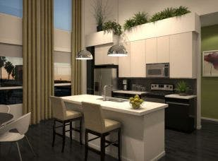 AMLI Lex on Orange rendering of kitchen