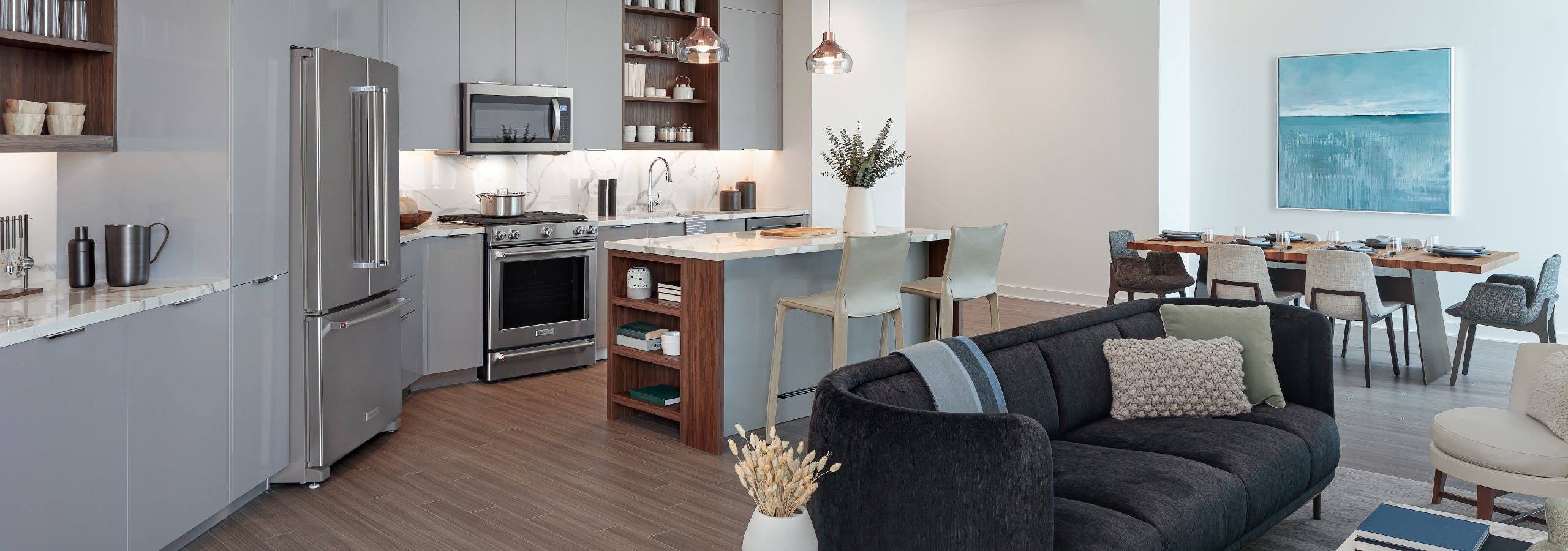 Island kitchen, living room and dining area