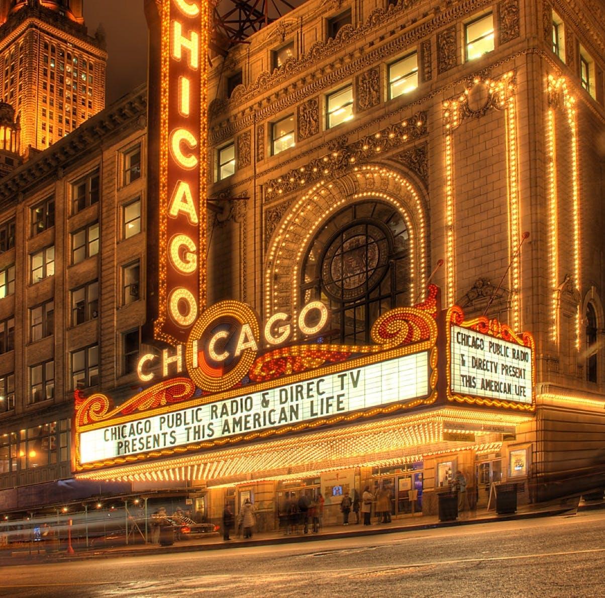 Chicago Theatre marquis at night